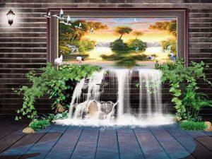 Tranh 3D hiện đại thác nước