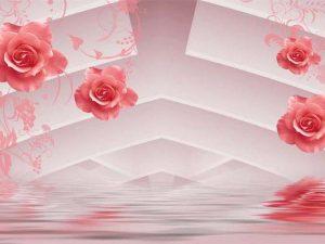 Tranh 3D hiện đại hoa hồng