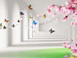 Tranh 3D hiện đại Hành lang hoa
