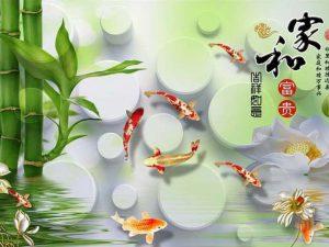 Tranh 3D hiện đại Cá vàng