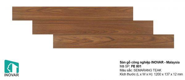 Sàn gỗ Inovar FE801 dày 12mm khe U bản nhỏ