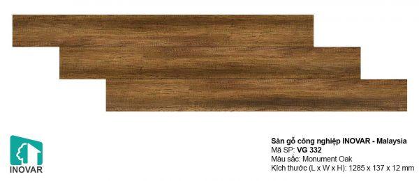 Sàn gỗ Inovar VG332 dày 12mm khe V bản nhỏ
