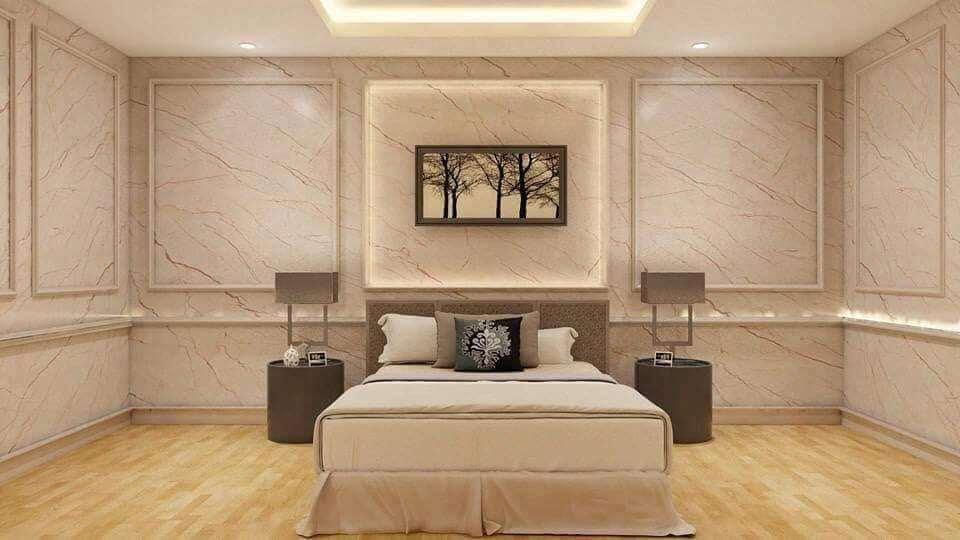 Tấm PVC vân đá ốp phòng ngủ