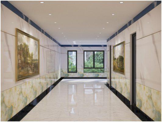 Tấm PVC vân đá ốp tường hành lang